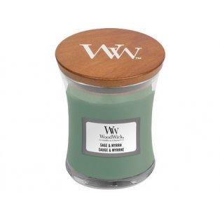 Woodwick svíčka - sklo malé/Sage & Myrrh