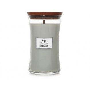 Woodwick svíčka - sklo velké/Lavender & Cedar