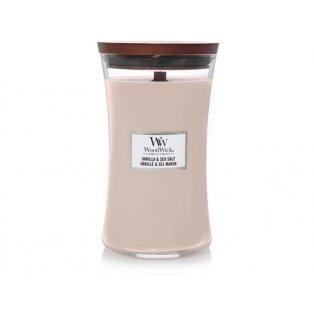 Woodwick svíčka - sklo velké/Vanilla & Sea Salt 05/19;02/21