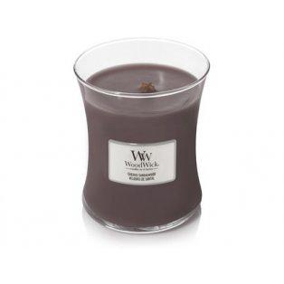 Woodwick svíčka - sklo střední/Suede & Sandalwood