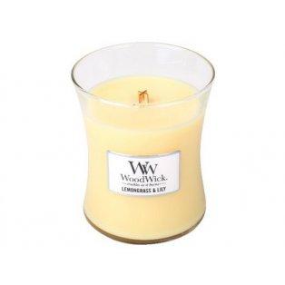 Woodwick svíčka - sklo střední/Lemongrass & Lily 06/19