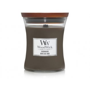 Woodwick svíčka - sklo střední/Oudwood 01/20;11/21