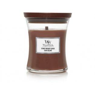 Woodwick svíčka - sklo střední/Stone Washed Suede