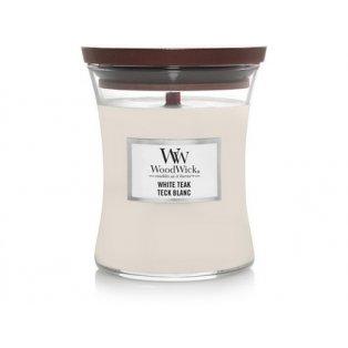 Woodwick svíčka - sklo střední/White Teak 11/19
