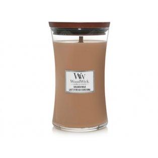 Woodwick svíčka - sklo velké/Golden Milk 03/21