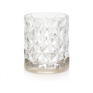 YANKEE CANDLE - LANGHAM METALLIC BAND IN CLEAR FACETED GLASS  - svícen na votivní svíčku - 1 ks