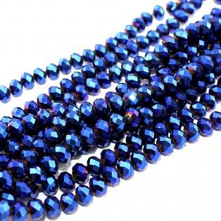 Broušené korálky - modré - 8 x 6 mm - 10 ks