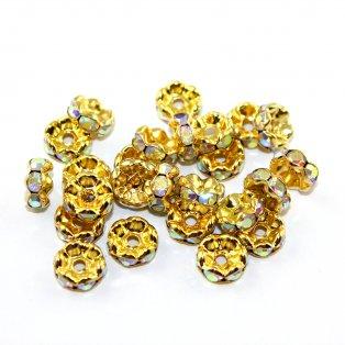 Rondelky vroubkované AB efekt - zlaté - ∅ 8 mm - 1 ks