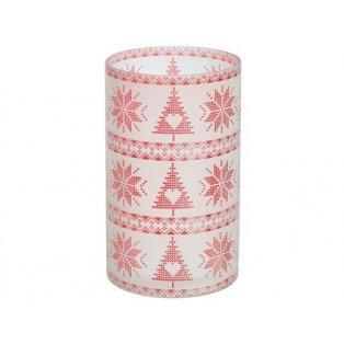 YANKEE CANDLE - RED NORDIC FROSTED GLASS - svícen na svíčku - 1 ks
