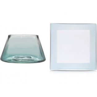 YANKEE CANDLE - SAVOY OMBRE ON CLEAR GLASS - malé stínítko + malý talíř - 1 ks