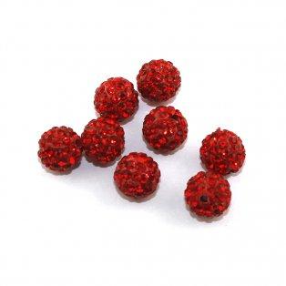 Shamballa - červená - 10 x 10 mm - 1 ks