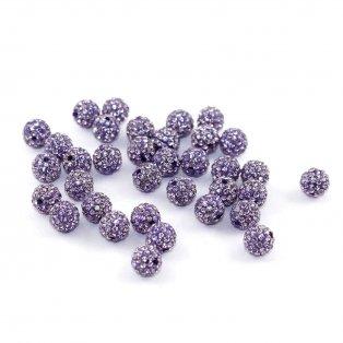 Shamballa korálek - fialový - třída A - ∅ 10 mm - 1 ks