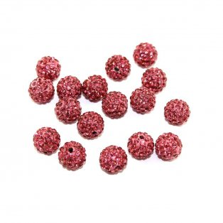 Shamballa korálek - růžový - třída A - ∅ 8 mm - 1 ks