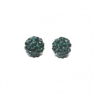 Shamballa - tmavě zelená - 10 x 10 mm - 1 ks