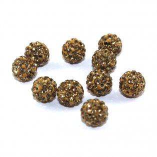 Shamballa - tmavě zlatá - 8 x 8 mm - 1 ks