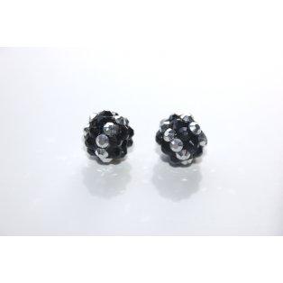 Shamballa - černo - stříbrná - 12 x 12 mm - 1 ks