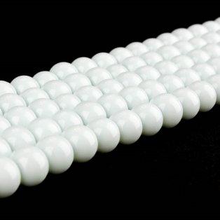 Skleněné korálky - bílé - ∅ 6 mm - 10 ks