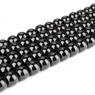Skleněné korálky - černé - ∅ 8 mm - 10 ks