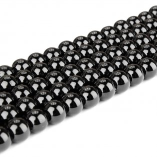 Skleněné korálky - černé - ∅ 6 mm - 10 ks