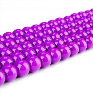 Skleněné korálky - fialové - ∅ 8 mm - 10 ks