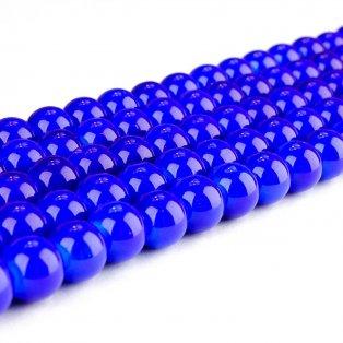 Skleněné korálky - tmavě modré - ∅ 8 mm - 10 ks