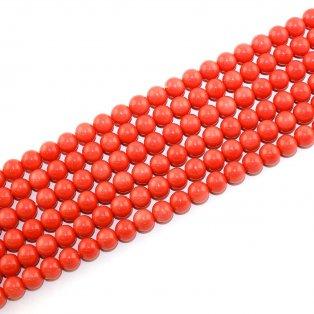 Skleněné korálky - rajčatové - ∅ 8 mm - 10 ks