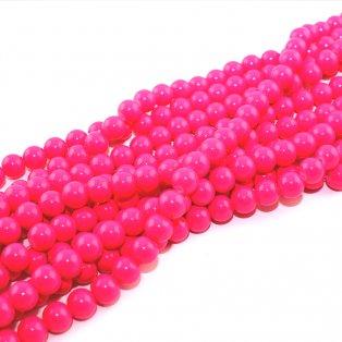 Skleněné korálky - razivě růžové - ∅ 8 mm - 10 ks