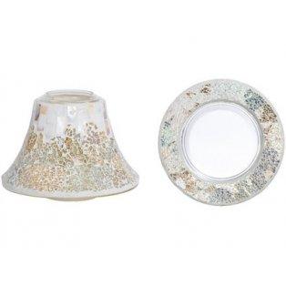 YANKEE CANDLE - GOLD AND PEARL CRACKLE - velké stínítko + velký talíř - 1 ks