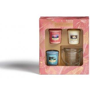 YANKEE CANDLE - dárková sada - 3 votivní svíčky + svícínek - 1 ks