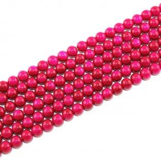 Skleněné korálky - rubínové - ∅ 8 mm - 10 ks
