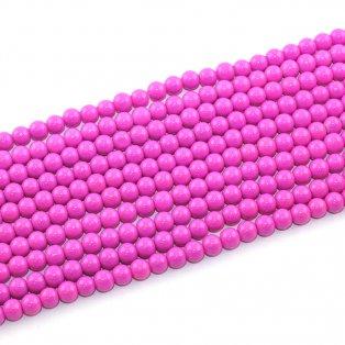 Skleněné korálky - tmavě růžové - ∅ 6 mm - 10 ks