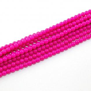 Skleněné korálky - višňově růžové - ∅ 6 mm - 10 ks