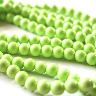Skleněné korálky - světle zelené - ∅ 8 mm - 10 ks