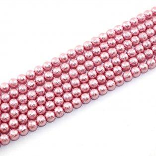 Voskované perly - matný styl - růžové - Ø 8 mm - 10 ks