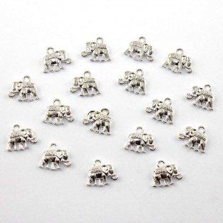 Kovový přívěsek - stříbrný - slon - 12 x 14 x 2,5 mm - 1 ks