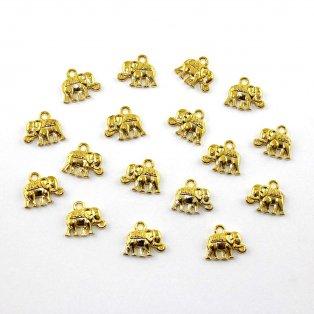 Přívěsek sloneček - zlatý - 12 x 14 x 2,5 mm - 1 ks