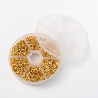 Spojovací kroužky - zlaté - Ø 4 - 10 mm - krabička