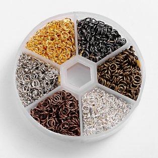 Spojovací kroužky - mix barev - Ø 5 mm - krabička