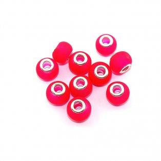 Sprejované korálky evropského typu - 14 x 10 mm - jahodově červené - 1 ks
