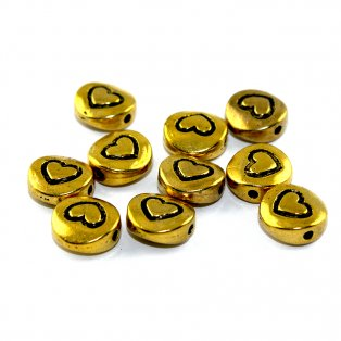 Srdce - zlaté - 10 x 4,5 mm - 1  ks