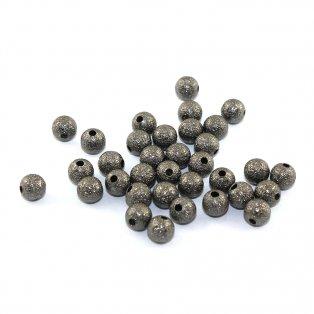 Mosazné korálky s hvězdným prachem - ocelově šedé - ∅ 6 mm - 10 ks