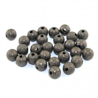 Mosazné korálky s hvězdným prachem - ocelově šedé - ∅ 8 mm - 10 ks