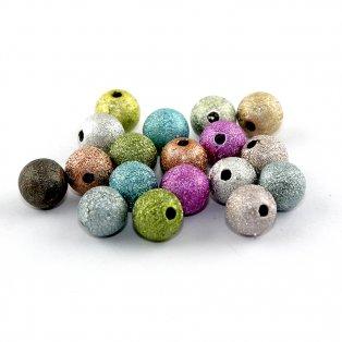 Mosazné korálky s hvězdným prachem - Mix - ∅ 8 mm - 10 ks