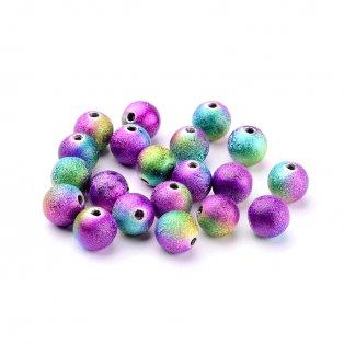 Mosazné korálky s hvězdným prachem - multicolor - ∅ 8 mm - 10 ks