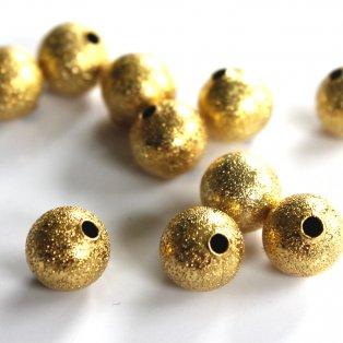 Mosazné korálky s hvězdným prachem - zlaté - ∅ 10 mm - 10 ks