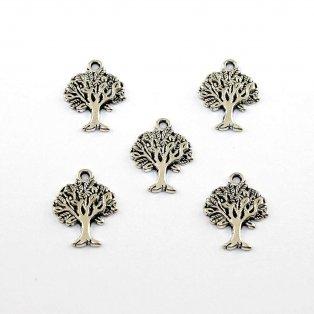 Kovový přívěsek - strom života - starostříbrný - 22 x 17 x 2 mm - 1 ks