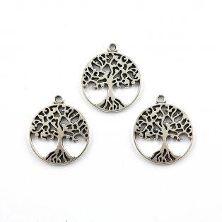 Strom života - stříbrný - 27 x 23.5 x 2.5 mm - 1 ks
