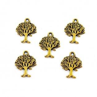 Strom života - zlatý - 17 x 22 x 2 mm - 1 ks