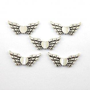 Stříbrná křídla - srdce - 42 x 18 mm - 1 ks
