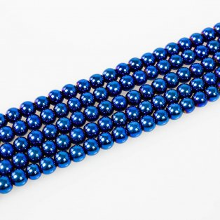Syntetický hematit - ocelově modrý - třída A - ∅ 6 mm - 10 ks